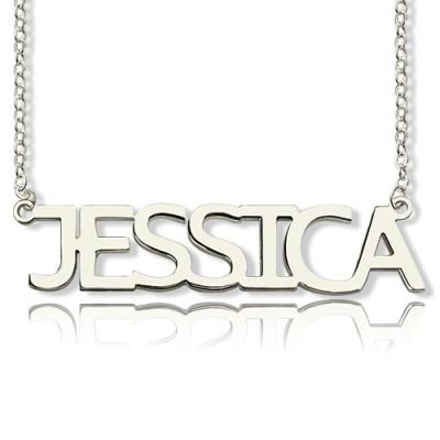 Solide weißes Gold überzog Jessica Art Name Halskette
