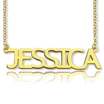 Solid Gold überzog Jessica Art Name Halskette