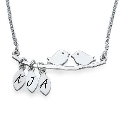Personalisierte Mama Schmuck Silber Vogel Halskette