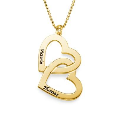 18CT Personalized Gold überzogenes Herz in Herz Halskette