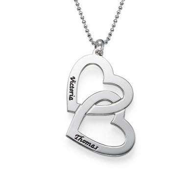 Personalisierte Herz in Herz Halskette