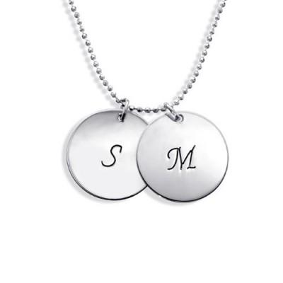 Personalisierte Sterling Silber Disc Halskette