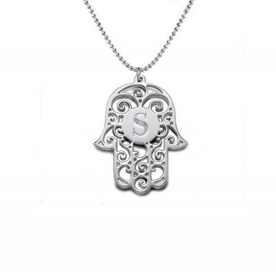 Silber Personalisierte Initial Hamsa Halskette