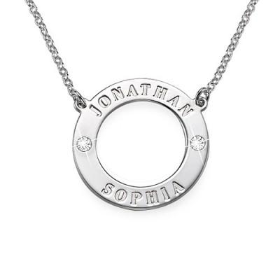 Personalisierte Silber Karma Halskette mit Swarovski