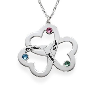 Personalisierte Triple Herz Halskette