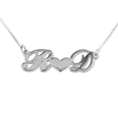 Personalisierte Silber Paare Herz Halskette
