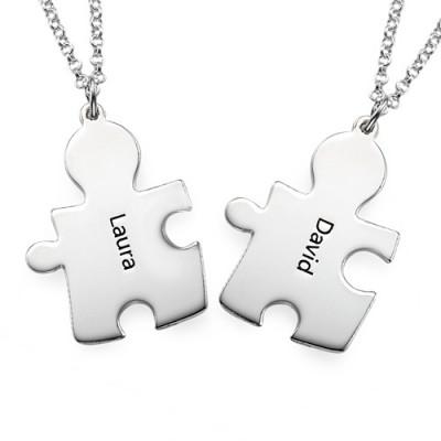 Personalisierte Silber Puzzle Halskette