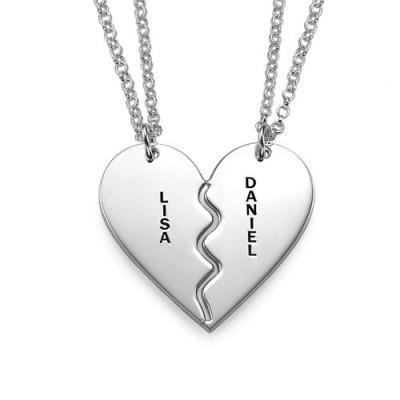 Personalisierte Silber Zerbrechliche Herz Halskette