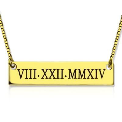 Personalisierte römische Ziffer Bar Halskette 18 karätigem Gold überzogen