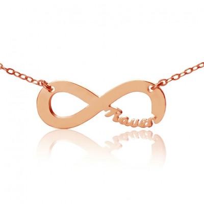Rose Gold überzogen Unendlichkeit Halskette Cut Out Name