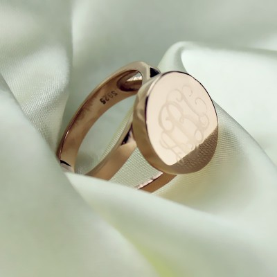 Rose Gold Circle Siegel Monogramm Ring