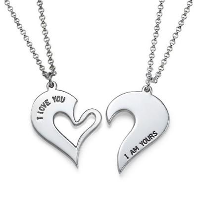 Silber Paare Zerbrechliche Herz Halskette