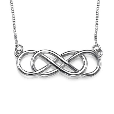 Silber Doppel Unendlichkeit Halskette