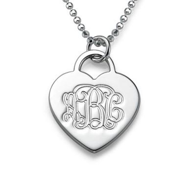Silber mit eingraviertem Monogramm Initialen Herz Anhänger