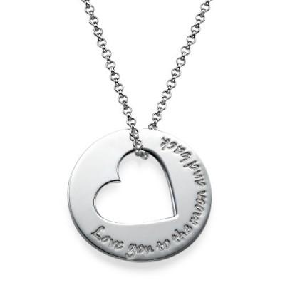 Silber Gravierte Halskette mit Herz Ausschnitte