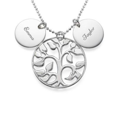 Graviert Disc Neutraler Familie Baum Halskette