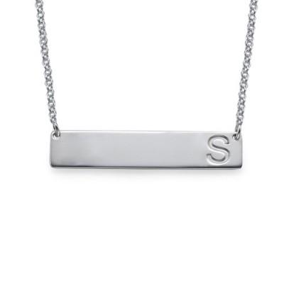 Silber Horizontal Anfängliche Bar Halskette