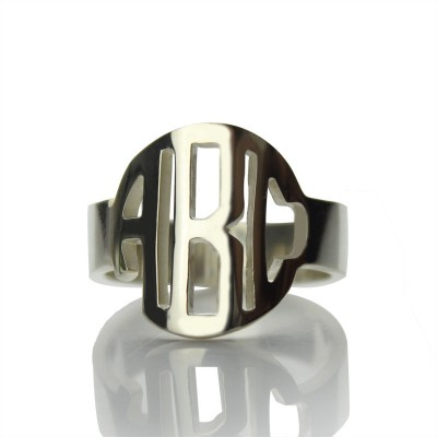 Sterling Silber Block Monogramm Ring Geschenke