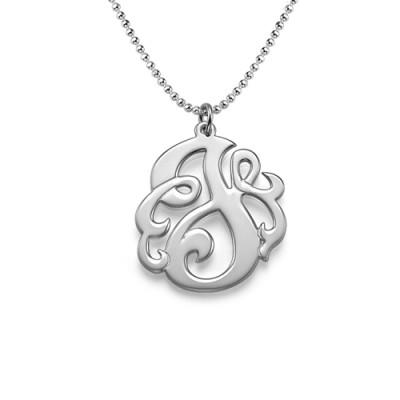 Silber Wirbler Initial Halskette