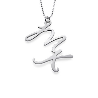 Zwei Anfängliche Halskette aus Sterling Silber