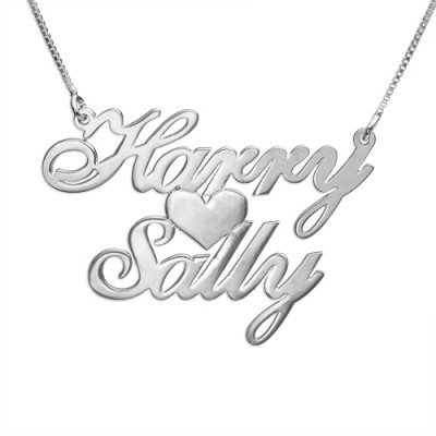 Silber Zwei Namen Herz Liebe Halskette
