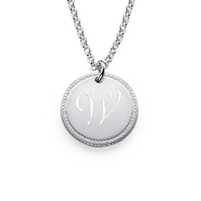 Sterling Silver Circle Initial Halskette