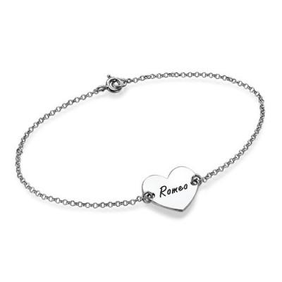 Sterling Silber mit eingraviertem Herz Paare Armband / Fußkettchen