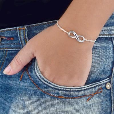Sterling Silber mit eingraviertem Infinity Armband / Fußkettchen