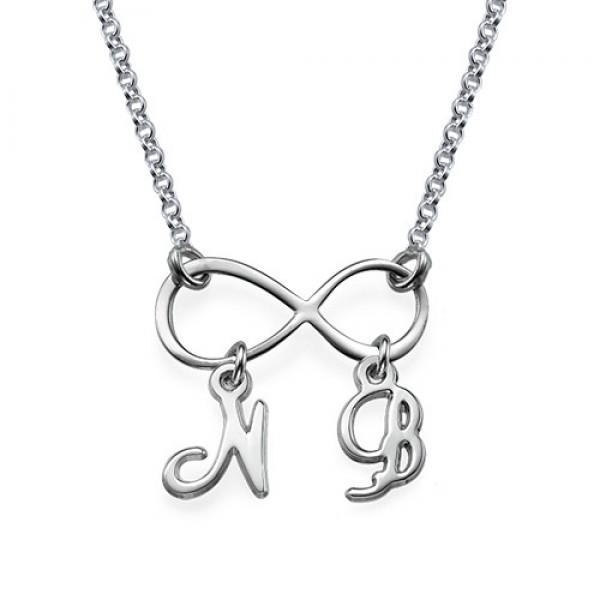 Sterling Silber Unendlichkeit Halskette mit Initialen