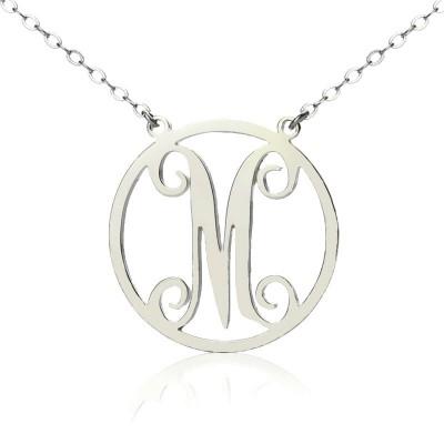 Sterling Silber Kleines Einzel Kreis Monogramm Buchstabe Halskette