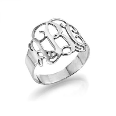 Sterling Silber Monogramm Ring