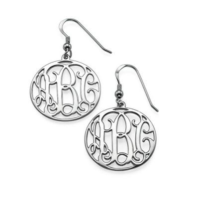 Sterling Silber mit Monogramm Ohrringe