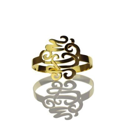 Monogramm Armreif Hand schreiben 18 karätigem Gold überzogen