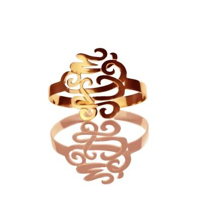 Monogramm Stulpe Armband Armband Handschreiben Rose Gold