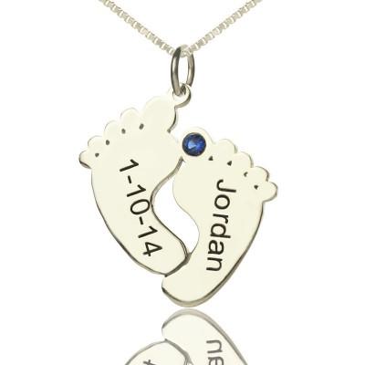 Personalisierte Speicher Füße Halskette mit Datum Name Sterling Silber