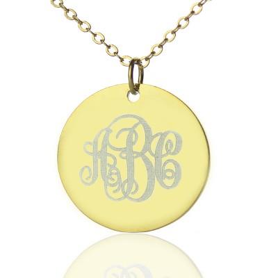 18ct Gold überzogenes Rebe Schrift Disc Gravierte Monogramm Halskette