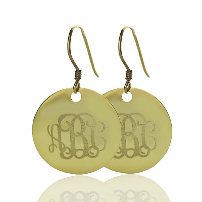 Feste 18ct Gold Circle Signet Monogramm Ohrring