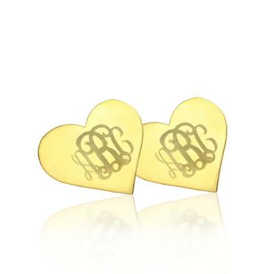 Herz Monogramm Ohrstecker Cusotm Feste 18 karätigem Gold