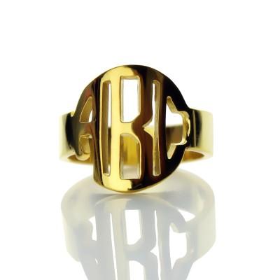 Personalisierte Kreis Block Monogramm 3 Initialen Ring Solid Gold Ring
