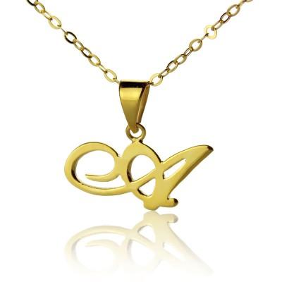 18 karätigem Gold überzogen Christina Applegate Initial Halskette