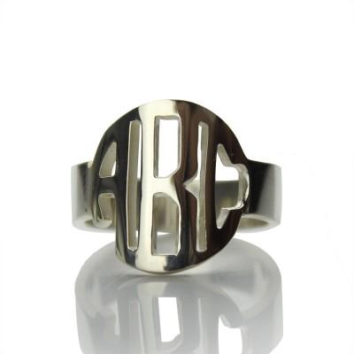Kreis Block Monogramm 3 Initialen Ring Fest Ring aus Weißgold