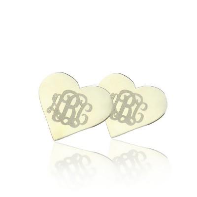 Herz Monogramm Ohrstecker Cusotm 18ct weißes Gold überzogen