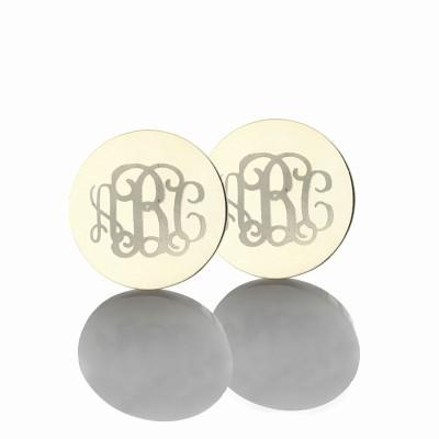 Kreis Monogramm 3 Ohrringe mit dem Buchstaben Name Ohrringe Solide 18 Karat Weißgold