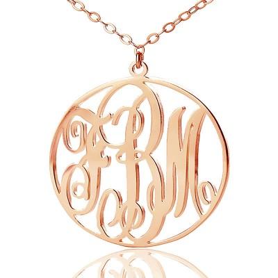 Personalisierte 18ct Rose Gold überzogen Rebe Schrift Kreis Initialen Monogramm Halskette