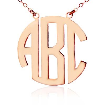 Feste Rose Gold Initialen Block Monogramm Anhänger Halskette