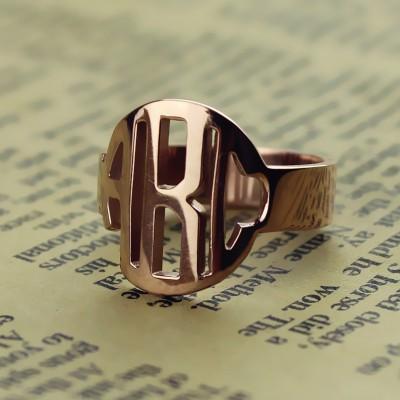 Personalisierte Kreis Block Monogramm 3 Initialen Ring Fest Rose Gold Ring