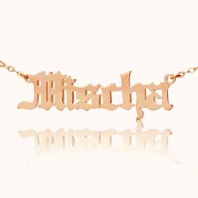 Mischa Barton Stil Old English Font Name Halskette 18ct Rose Gold überzogen