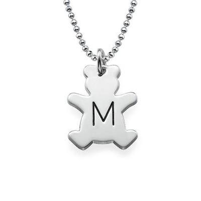Teddybär Halskette mit Initial in Silber
