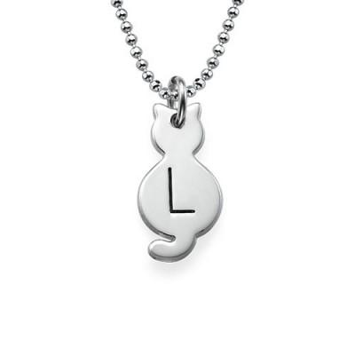 Kleine Katzen Halskette mit Initial in Sterling Silber