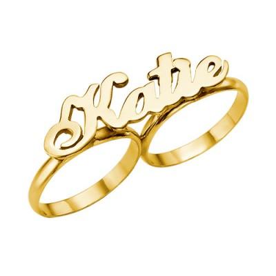 Zwei Finger Namen Ring in Solid 18 karätigem Gold